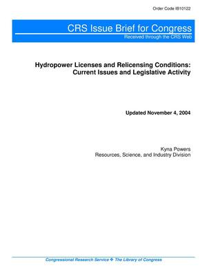 Primary view of object titled 'Hydropower Licenses and Relicensing Conditions: Current Issues and Legislative Activity'.