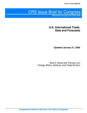 Primary view of object titled 'U.S. International Trade: Data and Forecasts'.