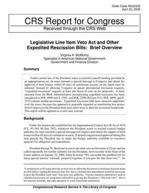 Primary view of object titled 'Legislative Line Item Veto Act and Other Expedited Rescission Bills: Brief Overview'.