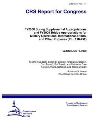 Primary view of object titled 'FY2008 Spring Supplemental Appropriations and FY2009 Bridge Appropriations for Military Operations, International Affairs, and Other Purposes (P.L. 110-252)'.