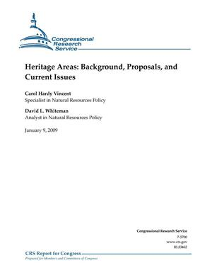 Primary view of object titled 'Heritage Areas: Background, Proposals, and Current Issues'.