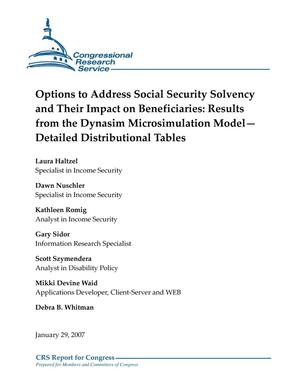 Primary view of object titled 'Options to Address Social Security Solvency and Their Impact on Beneficiaries: Results from the Dynasim Microsimulation Model–Detailed Distributional Tables'.