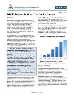 Primary view of object titled 'Wildlife Poaching in Africa: Overview for Congress'.