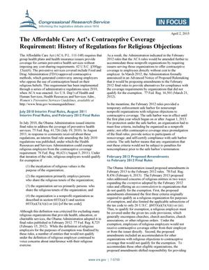 Primary view of object titled 'The Affordable Care Act's Contraceptive Coverage Requirement: History of Regulations for Religious Objections'.