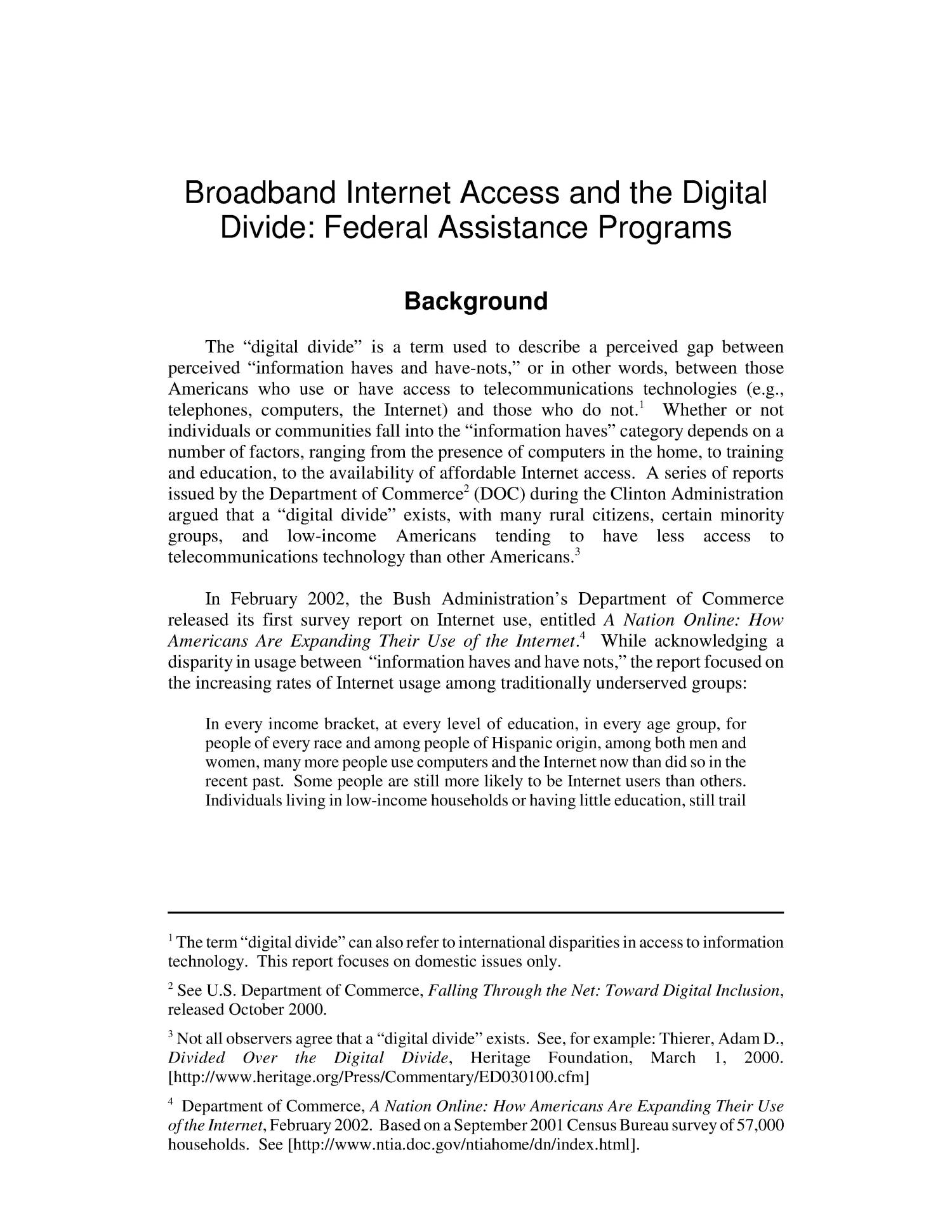 Broadband Internet Access and the Digital Divide: Federal Assistance Programs                                                                                                      [Sequence #]: 4 of 36