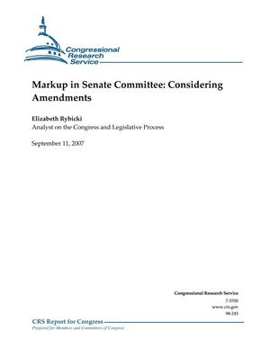 Primary view of object titled 'Markup in Senate Committee: Considering Amendments'.