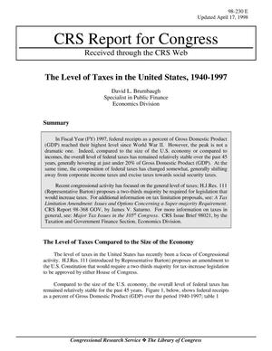 Primary view of object titled 'The Level of Taxes in the United States, 1940-1997'.