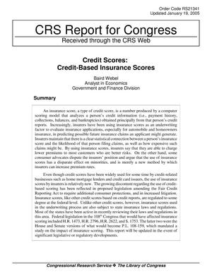 Primary view of object titled 'Credit Scores: Credit-Based Insurance Scores'.