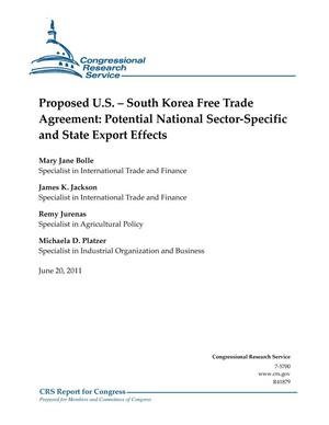 Primary view of object titled 'Proposed U.S. – South Korea Free Trade Agreement: Potential National Sector-Specific and State Export Effects'.