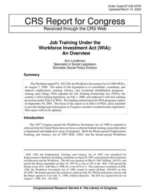 Primary view of object titled 'Job Training Under the Workforce Investment Act (WIA): An Overview'.