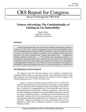 Primary view of object titled 'TOBACCO ADVERTISING: THE CONSTITUTIONALITY OF LIMITING ITS TAX DEDUCTIBILITY'.