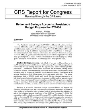 Primary view of object titled 'Retirement Savings Accounts: President's Budget Proposal for FY2006'.