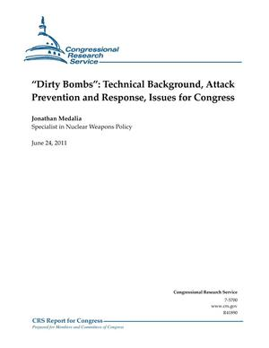 "Primary view of object titled '""Dirty Bombs"": Technical Background, Attack Prevention and Response, Issues for Congress'."