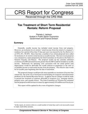 Primary view of object titled 'Tax Treatment of Short-Term Residential Rentals Reform Proposal'.