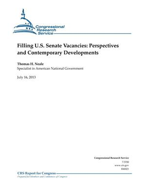Primary view of object titled 'Filling U.S. Senate Vacancies: Perspectives and Contemporary Developments'.