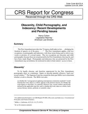 Primary view of object titled 'Obscenity, Child Pornography, and Indecency: Recent Developments and Pending Issues'.
