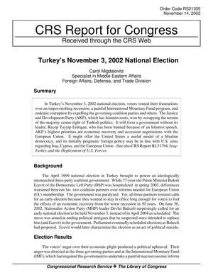 Primary view of object titled 'Turkey's November 3, 2002 National Election'.