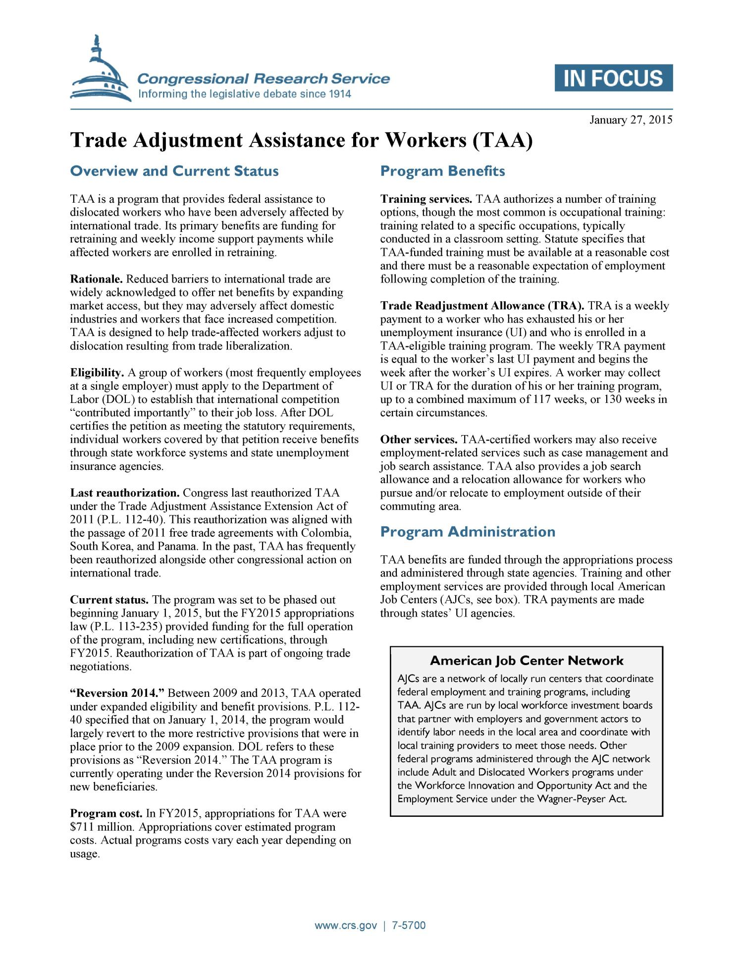 Trade Adjustment Assistance For Workers Taa Digital Library