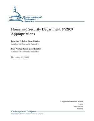 Primary view of object titled 'Homeland Security Department: FY2009 Appropriations'.