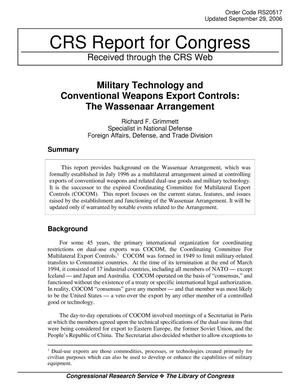 Primary view of object titled 'Military Technology and Conventional Weapons Export Controls: The Wassenaar Arrangement'.