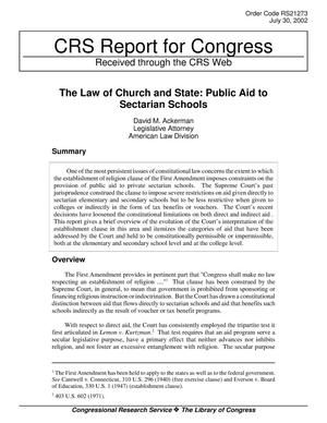 Primary view of object titled 'The Law of Church and State: Public Aid to Sectarian Schools'.