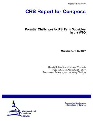 Primary view of object titled 'Potential Challenges to U.S. Farm Subsidies in the WTO'.