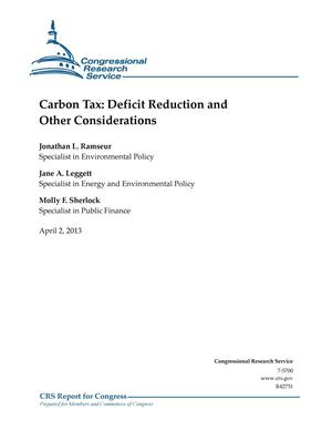 Primary view of object titled 'Carbon Tax: Deficit Reduction and Other Considerations'.