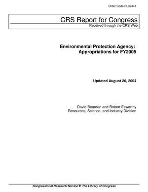 Primary view of object titled 'Environmental Protection Agency: Appropriations for FY2005'.