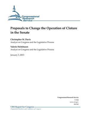 Primary view of object titled 'Proposals to Change the Operation of Cloture in the Senate'.