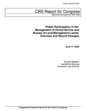 Primary view of object titled 'Public Participation in the Management of Forest Service and Bureau of Land Management Lands: Overview and Recent Changes'.