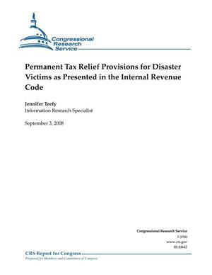Primary view of object titled 'Permanent Tax Relief Provisions for Disaster Victims as Presented in the Internal Revenue Code'.