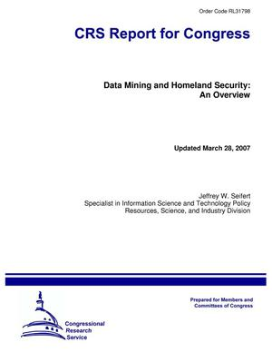 Primary view of object titled 'Data Mining and Homeland Security: An Overview'.