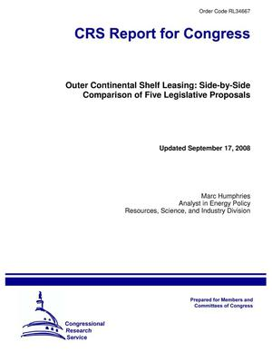 Primary view of object titled 'Outer Continental Shelf Leasing: Side-by-Side Comparison of Five Legislative Proposals'.