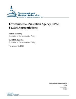 Primary view of object titled 'Environmental Protection Agency (EPA): FY2016 Appropriations'.