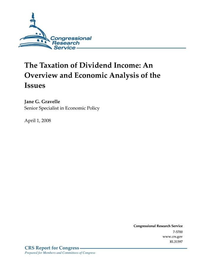 The Taxation of Dividend Income: An Overview and Economic