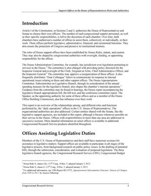 Support Offices in the House of Representatives: Roles and Authorities