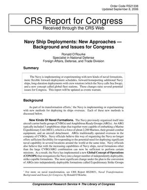 Primary view of object titled 'Navy Ship Deployments: New Approaches — Background and Issues for Congress'.
