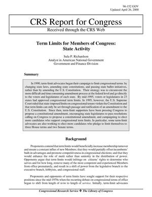 Primary view of object titled 'Term Limits for Members of Congress: State Activity'.