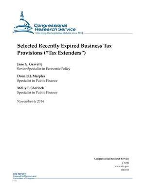 "Primary view of object titled 'Selected Recently Expired Business Tax Provisions (""Tax Extenders"")'."