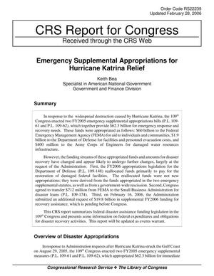 Primary view of object titled 'Emergency Supplemental Appropriations for Hurricane Katrina Relief'.