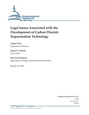 Primary view of object titled 'Legal Issues Associated with the Development of Carbon Dioxide Sequestration Technology'.