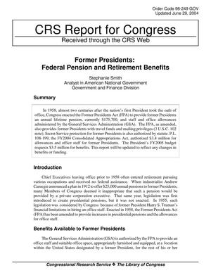 Primary view of object titled 'Former Presidents: Federal Pension and Retirement Benefits'.