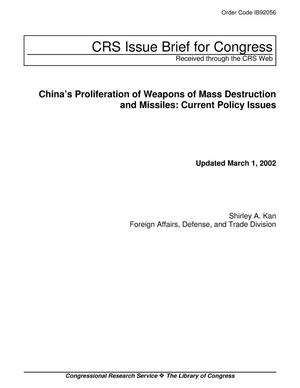 Primary view of object titled 'China's Proliferation of Weapons of Mass Destruction and Missiles: Current Policy Issues'.