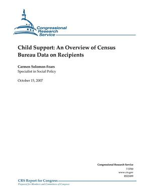Primary view of object titled 'Child Support: An Overview of Census Bureau Data on Recipients'.