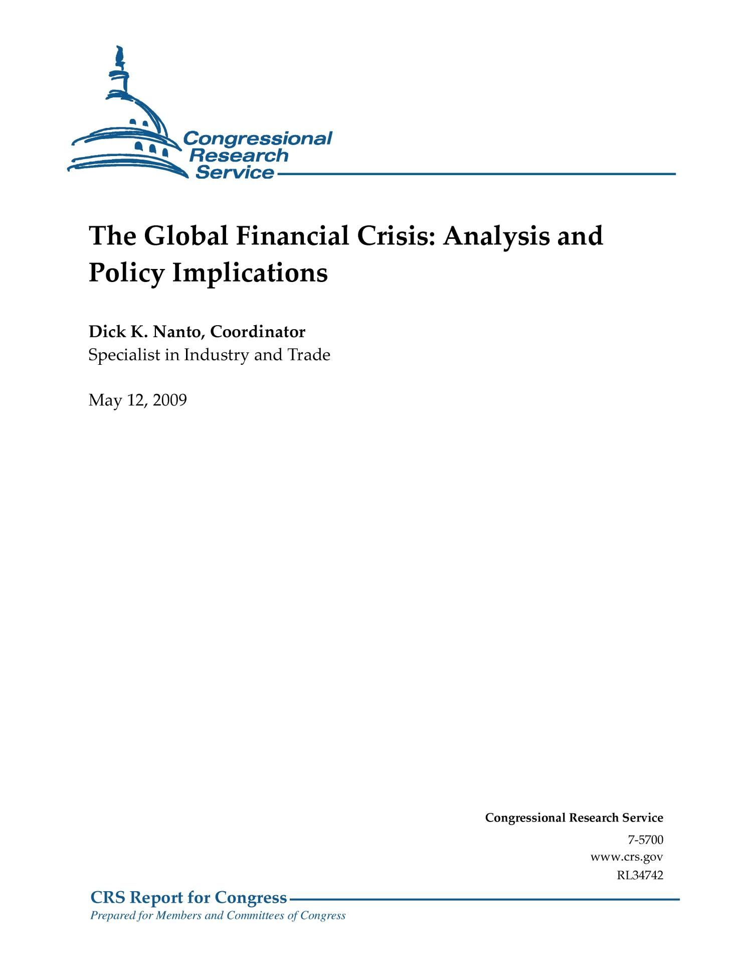 The Global Financial Crisis: Analysis and Policy Implications                                                                                                      [Sequence #]: 1 of 116