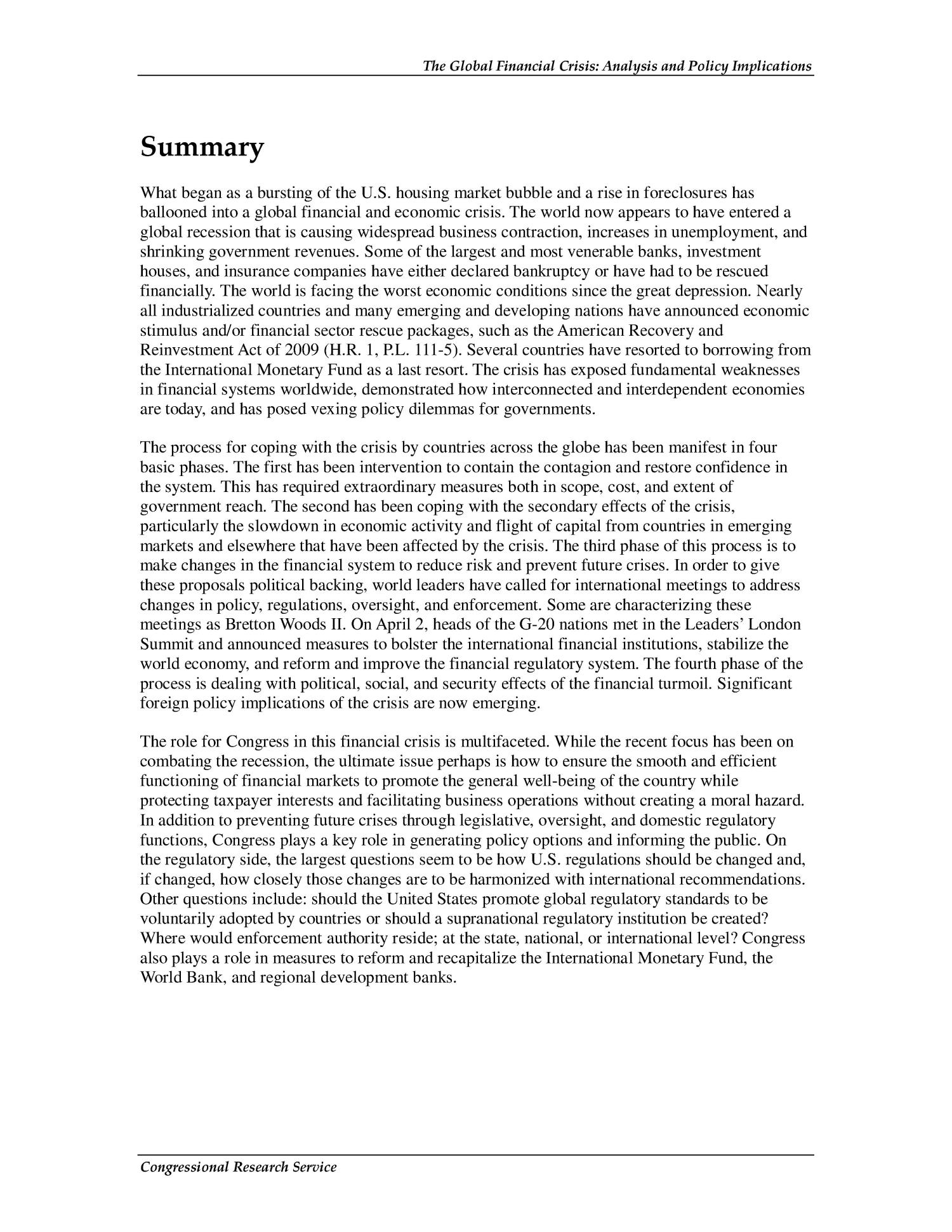 The Global Financial Crisis: Analysis and Policy Implications                                                                                                      [Sequence #]: 2 of 116