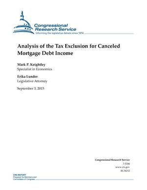 Primary view of object titled 'Analysis of the Tax Exclusion for Canceled Mortgage Debt Income'.