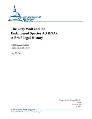 Primary view of object titled 'The Gray Wolf and the Endangered Species Act (ESA): A Brief Legal History'.