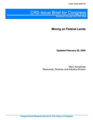 Primary view of object titled 'Mining on Federal Lands'.
