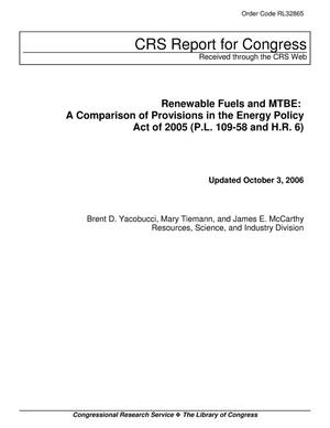 Primary view of object titled 'Renewable Fuels and MTBE: A Comparison of Provisions in the Energy Policy Act of 2005 (P.L. 109-58 and H.R. 6)'.